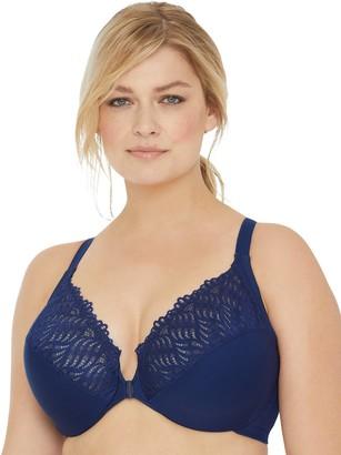 Glamorise Women's Plus-Size Full Figure Front Close Lace T-Back Wonderwire Bra #1246 Bra Cafe 36G