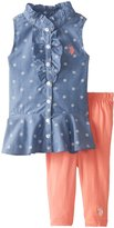 U.S. Polo Assn. Little Girls' Peplum Top with Capri Leggings