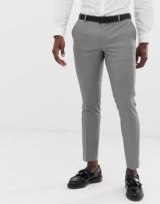 Burton Menswear wedding skinny suit trousers in bold house check-Black