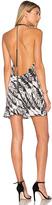 Fallon Raven Print Choker Mini Dress in Black & White. - size XS (also in )
