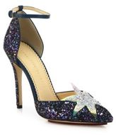 Charlotte Olympia Twilight Night Sky Glitter Ankle-Strap Pumps