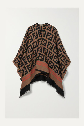 Fendi Frayed Wool And Silk-blend Jacquard Poncho - Camel