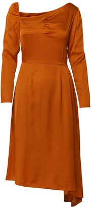 Dalb Flutter Asymmetric Orange Dress With Front Pleats