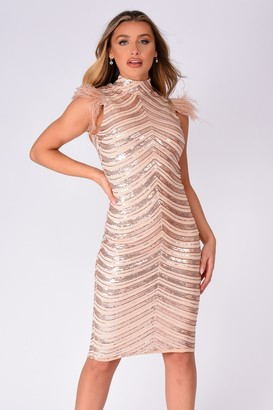 NAZZ COLLECTION Destiny Vip Rose Gold Luxe Feather Sequin Illusion Midi Pencil Dress