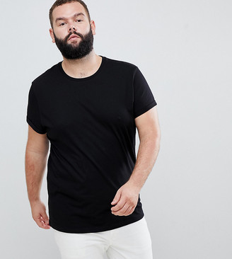ASOS DESIGN Plus t-shirt with crew neck and roll sleeve in black