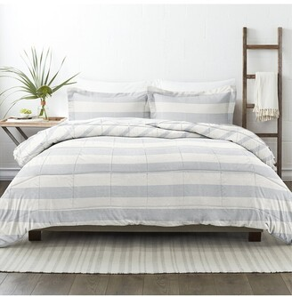 Home Collection Down Alt Distressed Stripe Reversible Comforter Set