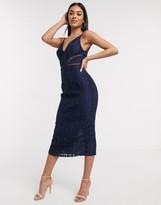 Asos Design DESIGN lace midi dress with ladder trim detail in navy