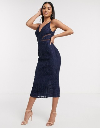 Asos DESIGN lace midi dress with ladder trim detail in navy