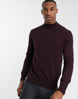 French Connection organic cotton turtleneck in burgundy