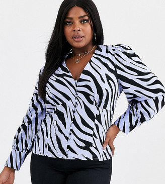 Glamorous Curve tea blouse with puff shoulders in vintage zebra-Blue