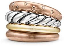 David Yurman 17.5mm Pure Form Four-Row Ring with Cognac Diamonds