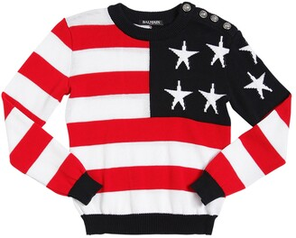 Balmain American Flag Cotton Sweater