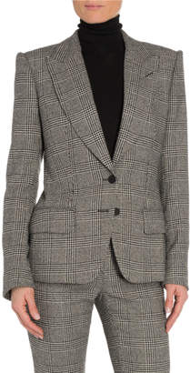 Tom Ford Prince of Wales Plaid Leather-Trim Blazer
