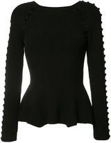 Carolina Herrera button up rib knit jumper - women - Cotton/Spandex/Elastane/Polyimide - L