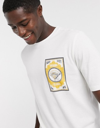 Selected oversized graphic logo t-shirt in off white