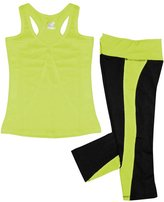 W Sport Women's Athletic Racer Back Tank Top & Skinny Yoga Capri Leggings Set