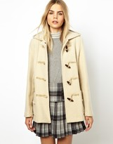 Gloverall Frieda Short Duffle Coat in Heritage Boiled Wool - Cream