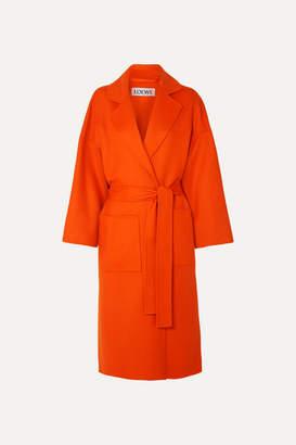 Loewe Belted Wool And Cashmere-blend Coat - Orange