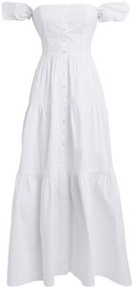 STAUD Elio Off-The-Shoulder Cotton Dress