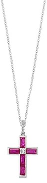 Bloomingdale's Ruby & Diamond Cross Pendant Necklace in 14k White Gold - 100% Exclusive