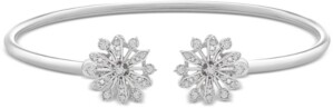 Wrapped Diamond Flower Flexy Open Bangle Bracelet (1/4 ct. t.w.) in Sterling Silver, Created for Macy's