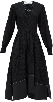 Proenza Schouler White Label Shirred Broderie-anglaise Cotton Midi Dress - Womens - Black