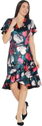 Isaac Mizrahi Live! Floral Printed Velvet Faux Wrap Dress