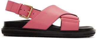 Marni Pink and Black Fussbett Sandals