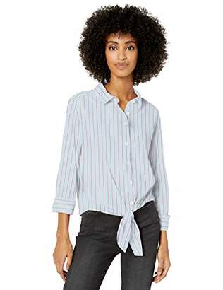 Goodthreads Lightweight Poplin Tie-front Shirt Button,Medium