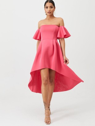 Missguided Bardot Scuba High Low Midi Dress - Pink