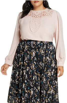 Halogen Embroidered Lace Yoke Blouse