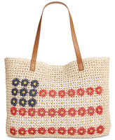 Style&Co. Style & Co Daisy Flag Straw Beach Bag, Only at Macy's