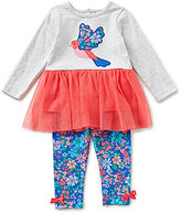 Starting Out Baby Girls 12-24 Months Bird-Applique Top & Printed Leggings Set