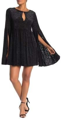 Cupcakes And Cashmere Janna Keyhole Velvet Bell Sleeve Mini Dress
