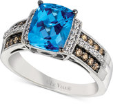 LeVian Le Vian® Chocolatier Signity Blue Topaz (2 ct. t.w.) and Diamond (1/4 ct. t.w.) Ring in 14k White Gold