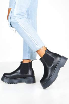 boohoo Wide Fit Chunky Platform Chelsea Boots