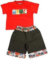 Mish Mish Mishmish - Baby Boys Short Sleeve Short Set, Red, Chocolate 11804-6Months