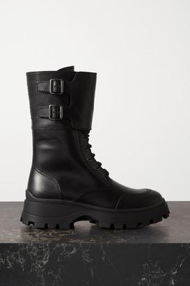 Miu Miu Buckled Leather Boots - Black