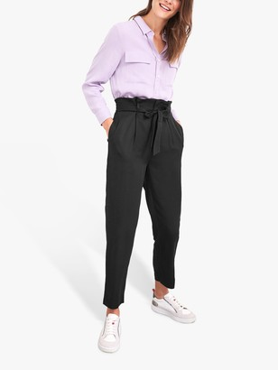 White Stuff Neptune Paperbag Trousers, Pure Black