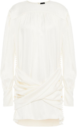 Magda Butrym Faux Pearl-embellished Ruched Silk-satin Mini Dress