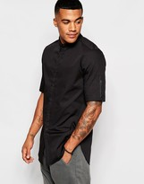 Asos Longline Shirt With Button Down Collar And Zip Detail
