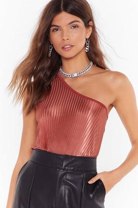 Nasty Gal Womens Be the One Shoulder Metallic Bodysuit - black - 4