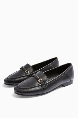 Topshop LUTHER Black Leather Loafers