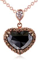 Kobelli Jewelry Kobelli 1 8/9 CT TW Multi-Color Diamond 18K Rose Gold Heart Pendant Necklace