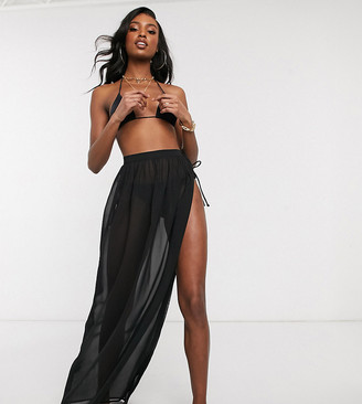 Asos Tall ASOS DESIGN tall recycled tie side maxi chiffon beach sarong in black