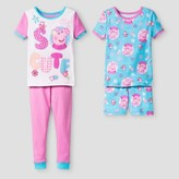 Peppa Pig Toddler Girls' 4-Piece Cotton Sleepwear Set - Multicolor