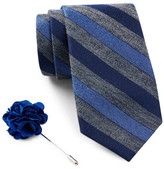 Ben Sherman Stripe Tie & Lapel Pin Box Set
