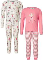 John Lewis Children's Christmas Fairy Pyjamas, Pack of 2, Pink