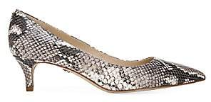 Sam Edelman Women's Dori Snakeskin-Embossed Leather Kitten-Heel Pumps