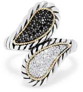 Effy Jewelry Effy 925 Sterling Silver & 18K Gold Black and White Diamond Ring, 0.29 TCW